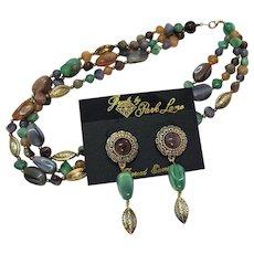 Signed Jewels by Park Lane Vintage Necklace Pierced Earrings Set Lucite Faux Jade Amethyst Unworn Original Card
