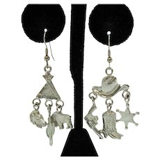 Fun Vintage Figural Pierced Earrings Cowgirl Charm Western Theme