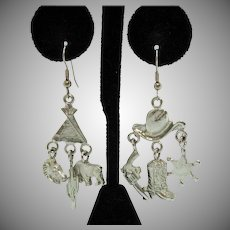 Fun Vintage Figural Pierced Earrings Cowgirl Charm Western Theme