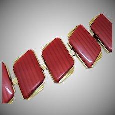 BLOW OUT SALE Large Vintage Lipstick Red Thermoset Statement Bracelet Horizontal Detail