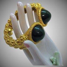 Signed KJL Kenneth Jay Lane Vintage Heavy Faux Jade Glass Cabochons Hinged Bangle Bracelet