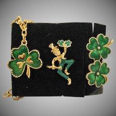 BOOK Vintage Unworn Signed Avon 1993 Leprechaun Shamrock Clover Green Enameled Earrings Charm Bracelet Pin