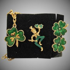 BOOK Vintage Unworn Signed Avon 1993 Leprechaun Shamrock Clover Green Enameled Earrings Charm Bracelet Pin