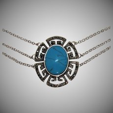 Vintage Faux Turquoise Three Strand Greek Key Stainless Steel Necklace
