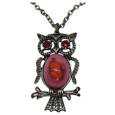 Unusual Vintage Ceramic Belly Rhinestone Figural Owl Pendant Necklace