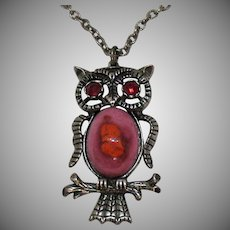 Unusual Vintage Ceramic Belly Rhinestone Figural Owl Pendant Necklace