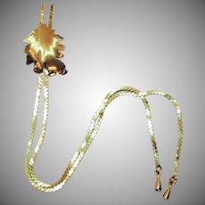 Signed Park Lane Golden Leaf Slide Vintage Necklace