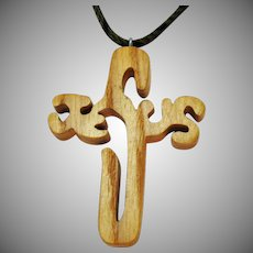 Vintage Folk Art Hand Crafted Wooden Jewelry of Faith Jesus Pendant Braided Hair Necklace