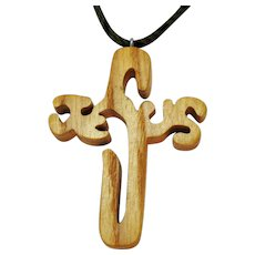 Vintage Folk Art Hand Crafted Wooden Jewelry of Faith Jesus Pendant Braided Hair Necklace FREE SHIPPING