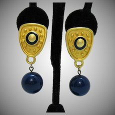 Vintage Brushed Golden Navy Blue Enameled Pierced Earrings Glass Dangle Beads