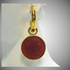 Vintage Carnelian Glass Cameo Victorian Revival Removable Hook Pierced Earrings