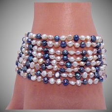 Classy Vintage Eight Row Cultured Baroque Pearl Sterling Silver 925 Bracelet