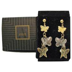 Gorgeous Vintage Signed Avon 1996 Flight of Fantasy Pierced Earrings Butterflies Original Box Unworn