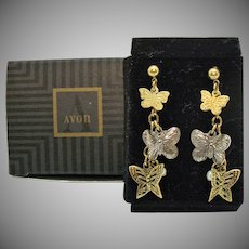 Gorgeous Vintage Signed Avon 1996 Flight of Fantasy Pierced Earrings Butterflies Original Box Unworn