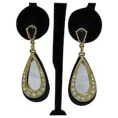 Fun Fabulous Black Lucite Golden Metal Pava Rhinestone Vintage Pierced Earrings