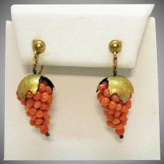 Antique Victorian Gold Guild Over 800 Silver Genuine Coral Beaded Grape Cluster Screw Back Earrings
