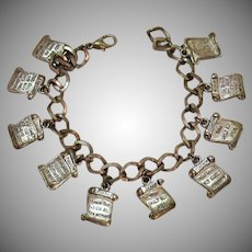 Vintage Silver Metal 10 Commandments Jewelry of Faith Charm Bracelet