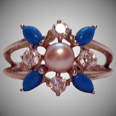 Gorgeous Signed 925 Sterling Silver Faux Turquoise Rhinestone Pearl Ring Size 10