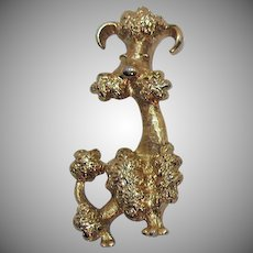 Adorable Signed Avon 'Poodle' 1972 Vintage Golden Dog Brooch
