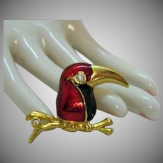 Delightful Enameled Rhinestone Figural Toucan Bird on a Branch Vintage Brooch