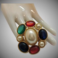 Extremely Rare Vintage Gripoix Glass Signed Avon 'Jeweled Classics' 1983 Detachable Pearl Clasp or Brooch
