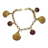 Very Rare Vintage Avon Sea Shell Faux Coral Beaded Charm Bracelet Unworn FREE SHIPPING
