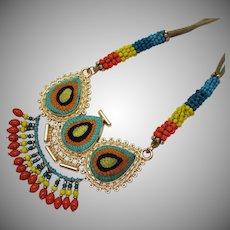 Unusual Vintage Beaded Metal Jute Egyptian Style Necklace