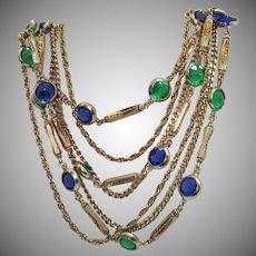 Fabulous Vintage Seven Strand Chain Necklace Collet Set Sapphire Blue Emerald Green Stones