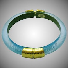 Signed Alexis Bittar Hand Carved Lucite Vintage Color Changing Turquoise Gold Hinged Bangle Bracelet