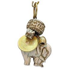 Interesting Vintage Faux Ivory Figural Elephant Coin Charm Pendant Necklace