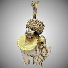 Interesting Vintage Faux Ivory Figural Elephant Coin Charm Pendant Necklace