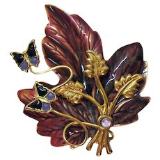 Beautiful Vintage Enameled Leaf Butterfly Brooch