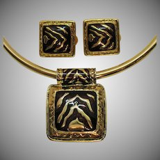 Vintage Choker Necklace Clip Earrings Enameled Animal Pattern