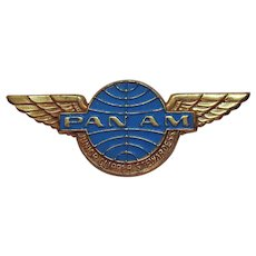 Vintage 1968 Pan Am Airlines Junior Clipper Stewardess Metal Wings Pin Badge FREE SHIPPING