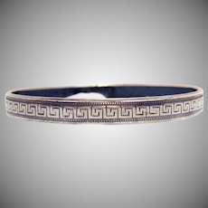 Very Old Vintage Sterling Silver Greek Key Design Bangle Bracelet