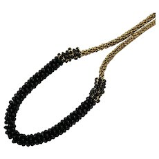 Bold Signed Talbots Vintage Black Glass Beaded Rhinestone Chain Necklace 35 Inches Long