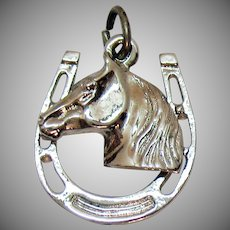 Well Crafted Vintage 3D Horse Head Shoe Sterling Silver Charm