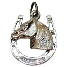 Well Crafted Vintage 3D Horse Head Shoe 925 Sterling Silver Charm FREE SHIPPING