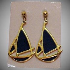 BOOK Vintage Nautical Sail Boat 'Ship Ahoy' 1989 Enameled Pierced Earrings by Avon Unworn Original Box