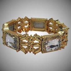Heavy Vintage Brilliant Rhinestone Golden Stretch Bracelet