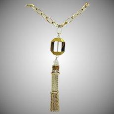 Gorgeous Vintage Golden Rhinestone Rondel Chain Tassel Necklace