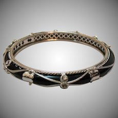 Gorgeous Vintage Silver Overlay Black Glass Rhinestone Bangle Bracelet