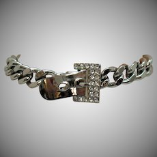 Heavy Vintage Silver Chain Rhinestone Buckle Bracelet