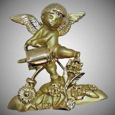 Signed AJC Garden Guardian Angel Watering Flowers Vintage Brooch