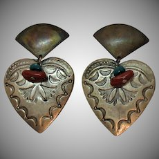 Vintage Liz Soto of Los Angeles Metal Heart Coral Turquoise Heart Clip Earrings