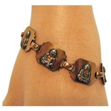 Vintage Mid Century Modern Copper Figural Buddha Link Bracelet