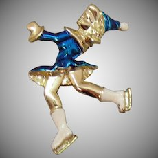 Unique Vintage Enameled Shiny Blue Figural Ice Skater Brooch