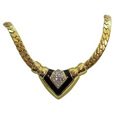 Fabulous Heavy Flat Link Vintage Rhinestone Enameled Choker Necklace Art Deco Flare