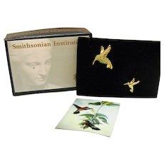Signed SI Smithsonian Institution Vintage 1997 August Hummingbird Birthstone Pin by Avon Original Box Unworn