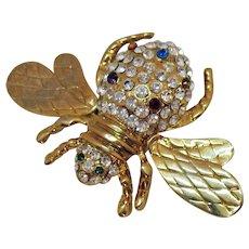 Figural Vintage Pava Rhinestone Bumble Bee Brooch